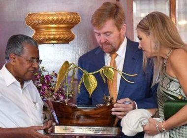 ഡച്ച് ഭാഷയില് നെതര്ലന്ഡ് രാജാവിനും രാജ്ഞിക്കും സ്വാഗതവുമായി മുഖ്യമന്ത്രി